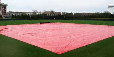 Rain delay! Bring out the tarp!