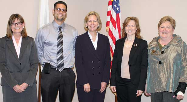 The panel discussing the wrongful conviction of Juan Rivera included (from left): Jane Raley, senior staff attorney for Northwestern's Center on Wrongful Convictions; Juan A. Rivera, Jr.; Judy Royal, staff attorney for Northwestern's Center on Wrongful Convictions; NIU Law alumna Stacey Mandell ('96), senior law clerk to Justice Hutchinson; and Justice Susan F. Hutchinson of the Illinois Appellate Court, Second District.