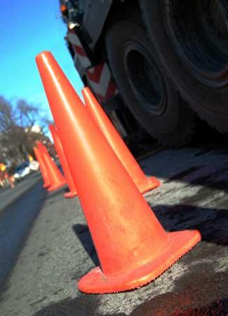 Photo of orange road construction cones