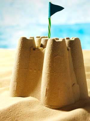 Photo of a sand castle.