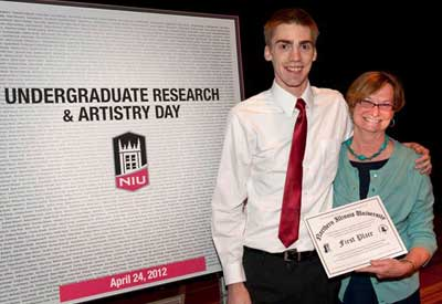 Award winner Dylan Blaum and Vice Provost Anne Birberick