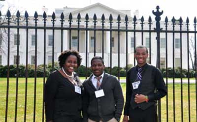NIU TRiO travelers stand outside the White House