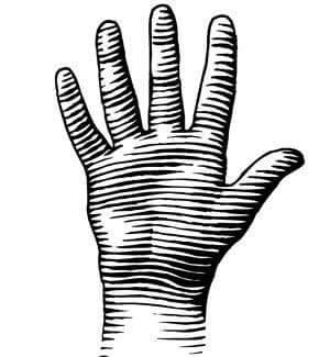 Woodcut of a hand