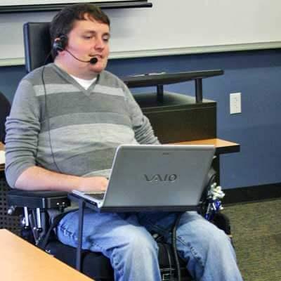 John Mravik teaches in his Elgin Community College classroom.