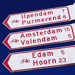 Photo of bike mileage signs in the Netherlands