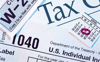 Collage of income tax images