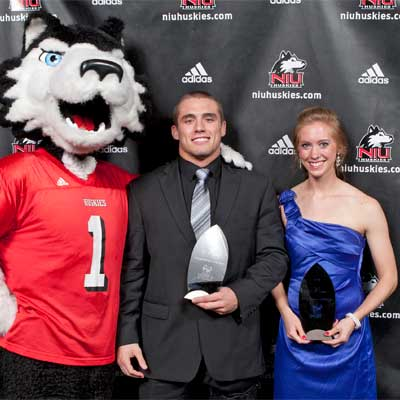Victor E. Huskie with Scholar Athlete of the Year winners Brad Dieckhaus and Jenner Sio.