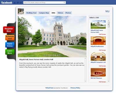 Screen capture of NIU virtual tour - Facebook version