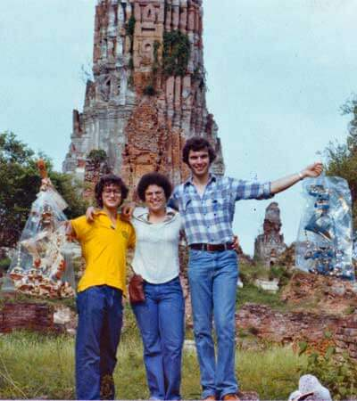John Brandon (right) visits Ayudtaya in Thailand in June 1978 with Julia Lamb (center), research associate and outreach coordinator for the NIU Center for Southeast Asian Studies, and Frank Silverstein. Brandon and Lamb met at Drew University and have remained good friends since. Silverstein, whose father, Josef, was a prominent Burma specialist in his day, was born in Burma and had lived about half his life in Southeast Asia when the photo was taken.
