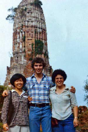 John Brandon (center) visits Ayudtaya in Thailand in June 1978 with Julia Lamb (right), research associate and outreach coordinator for the NIU Center for Southeast Asian Studies, and another student.