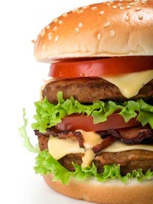 Photo of a bacon cheeseburger