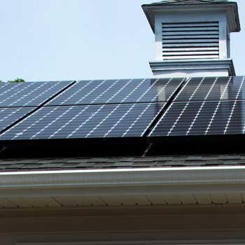 Photo of solar panels on Richard Born's DeKalb roof.