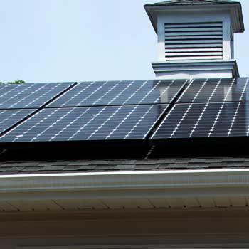 Photo of solar panels on Richard Born's DeKalb roof.