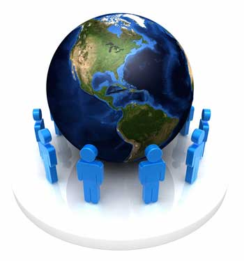 Photo of blue stick figures surrounding a globe