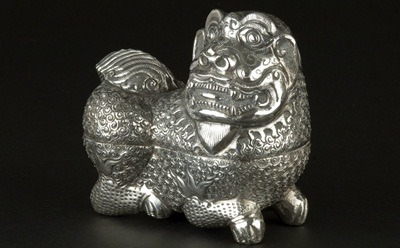 "The Center for Southeast Asian Studies' 50th anniversary exhibit ""Rarely Seen Southeast Asia,"" features such pieces as this mid-20th century Cambodian silver box in lion form. The exhibit will open Oct. 11, at The Anthropology Museum and is one of a number of upcoming campus events related to Southeast Asia this year."
