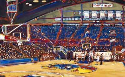 A partial image of John Bukaty print from 2012 Kansas-Missouri basketball game.