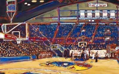 A partial image of John Bukaty print from 2012 Kansas-Missouri basketball game.