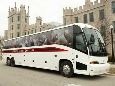 Photo of an NIU bus parked outside Altgled Hall