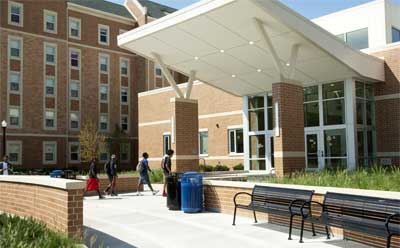 Students outside the new residence hall