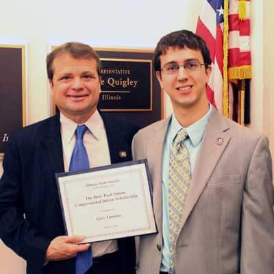NIU D.C. intern Gary Timmins with U.S. Rep. Mike Quigley.