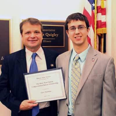 NIU D.C. intern Gary Timmins with U.S. Rep. Mike Quigley.