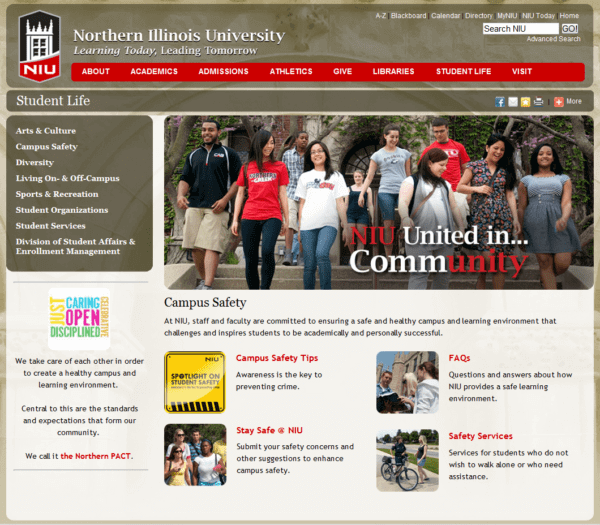 Screen capture of Campus Safety web page