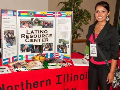 """Photo of the Latino Resource Center table at the """"Cultures Welcome"""" event"""
