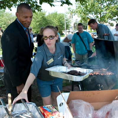 John Jones, associate vice president for Student Affairs, and Megan Gerken, an academic adviser in the Department of Literacy Education, enjoy a Meet the Vets Barbecue courtesy of Military Student Services.