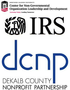 Logos of NGOLD, Internal Revenue Service and DeKalb County Nonprofit Partnership