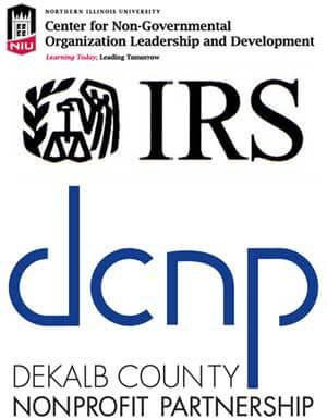 Logos of NGOLD, Internal Revenue Service and DeKalb County Nonprofit Partnership