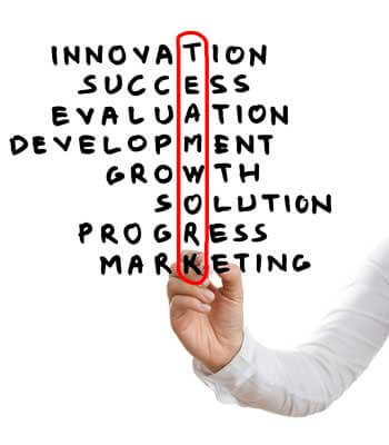 """Photo of the word """"TEAMWORK"""" circled in red among words such as """"INNOVATION,"""" """"SUCCESS"""" and """"GROWTH"""""""