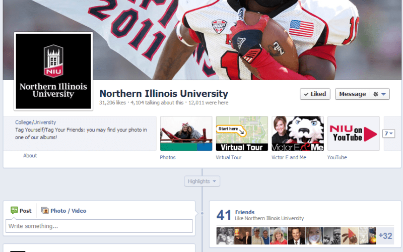 Screen-capture of NIU's Facebook page