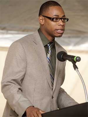 Student Association President Delonte LeFlore speaks at the Oct. 18 groundbreaking ceremony.