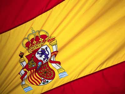 A close-up photo of the flag of Spain