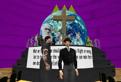 Students created this virtual art space about religion and evolution and invited guests to respond to it within the virtual environment.