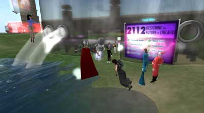 "Lilly Lu and the DCL worked with students from Schaumburg High School to produce art and host events in interactive virtual worlds, such as ""Future Chicago."""