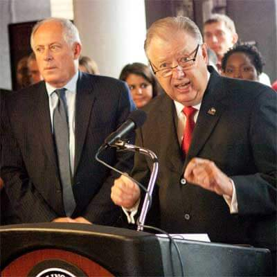 NIU President John G. Peters (right) and Illinois Gov. Pat Quinn