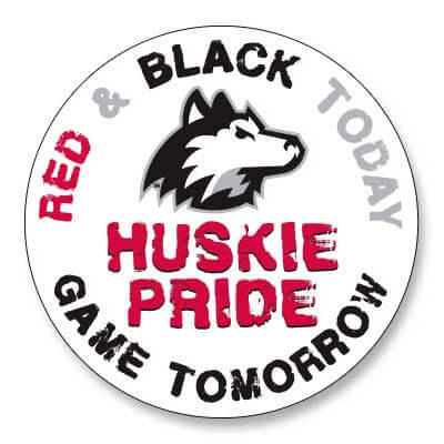 Huskie Pride button: Red & Black Today / Game Tomorrow