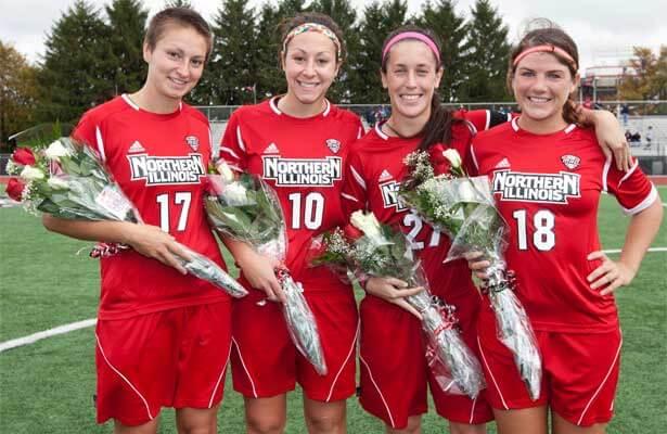 NIU Women's Soccer seniors (from left): Shelbi Johnson, Nici Newquist, Lauren Eberts and Anna Roman-Pleschko