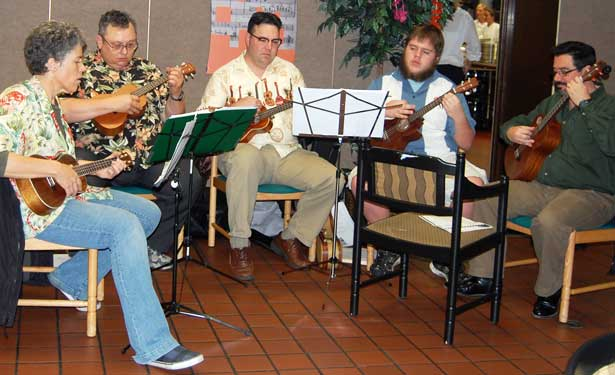 Members of the NIUkulele Ensemble (from left) are Sophia Varcados, Tom Kapraun, Scott Bellis, Jake Henert and Taylor Atkins.