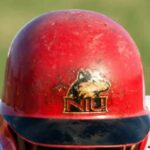 Photo of an NIU Huskie baseball batting helmet