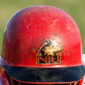 Photo of an NIU Huskie baseball batting helmet
