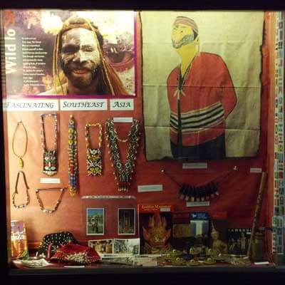 An exhibit of objects collected by anthropology graduate student Anthony Tumpag and put together by Hao Phan, curator of the Southeast Asia collection at Founders Library, is on display in one of the glass cases this week in front of the Blackhawk cafeteria in the Holmes Student Center.
