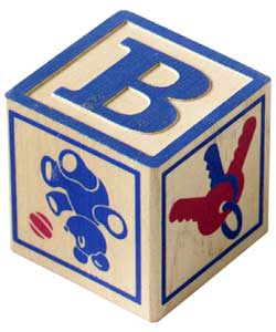 """Photo of a young child's """"B"""" alphabet block"""