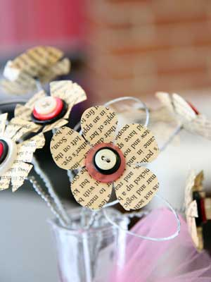 Photo of a craft of paper-button flowers