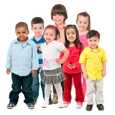 Stock imagery of seven young children