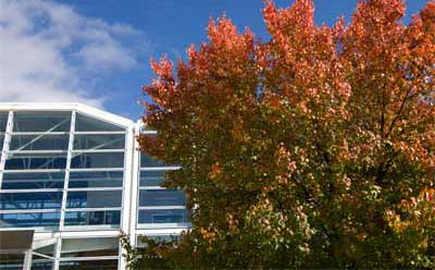 NIU Engineering Building in autumn