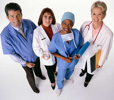 Four health care workers from various disciplines