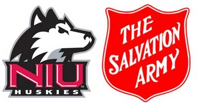 Logos of NIU Intercollegiate Athletics and the Salvation Army