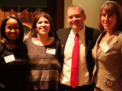 From left: Kenya Jenkins-Wright ('03), new president; Melinda Rosales-Byerly ('03), new 2nd vice president; Brent Eames ('09), new 1st vice president;  Laura Alms ('12), new secretary.